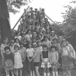 Black and white image of Compass Kids circa late 70s taken by steps to Glebe Avenue
