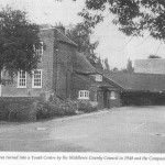 BW image of Hall and Compass from car park