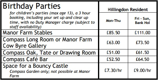 Children Party Rates 2015 16