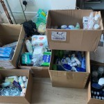 Collected toiletries for care packs for hospital patients