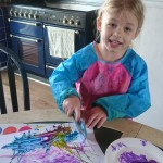 Daughter Emilia doing marble painting