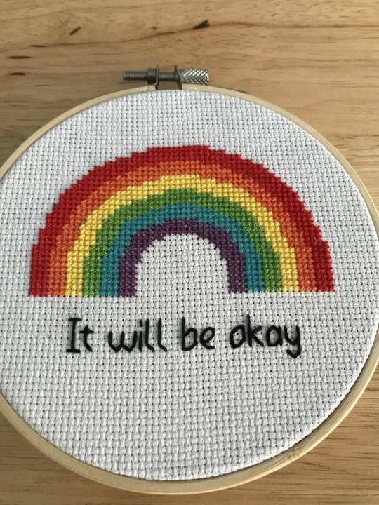 Rainbow cross stitch by Georgie Grieve