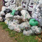 some bags of rubbish we collected to be collected by barges
